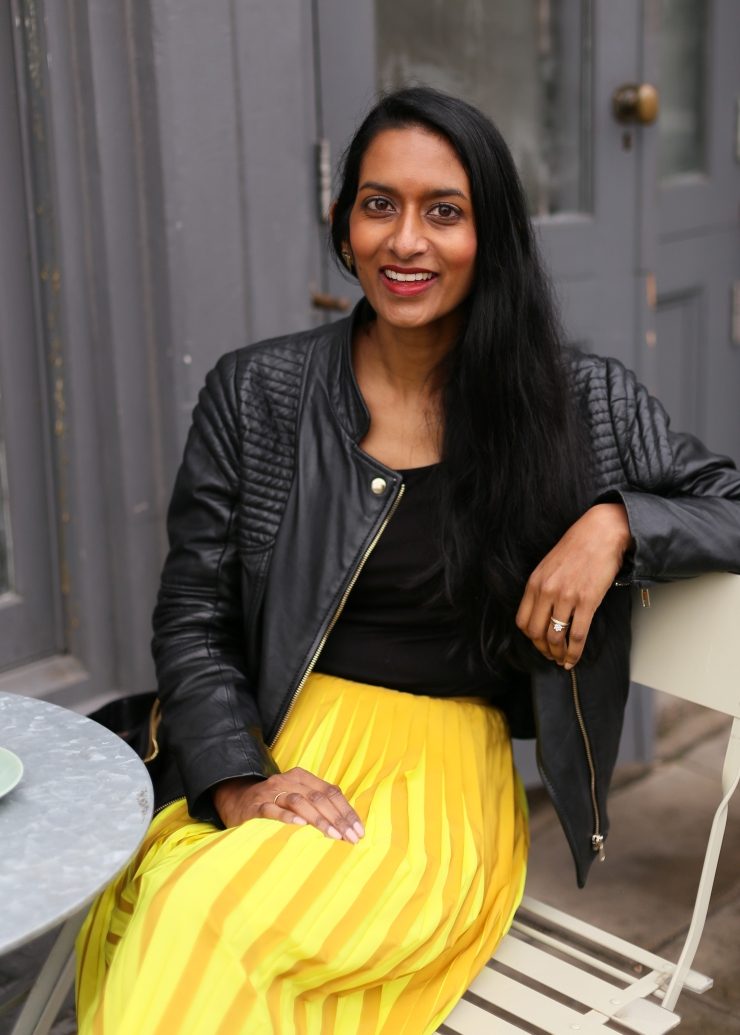 Sunita Portrait Daniela cafe yellow skirt